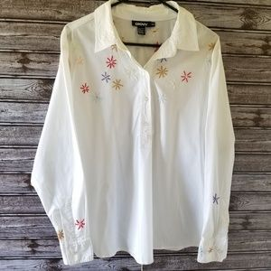 DKNY Floral Embroidered Popover Top Size 14W